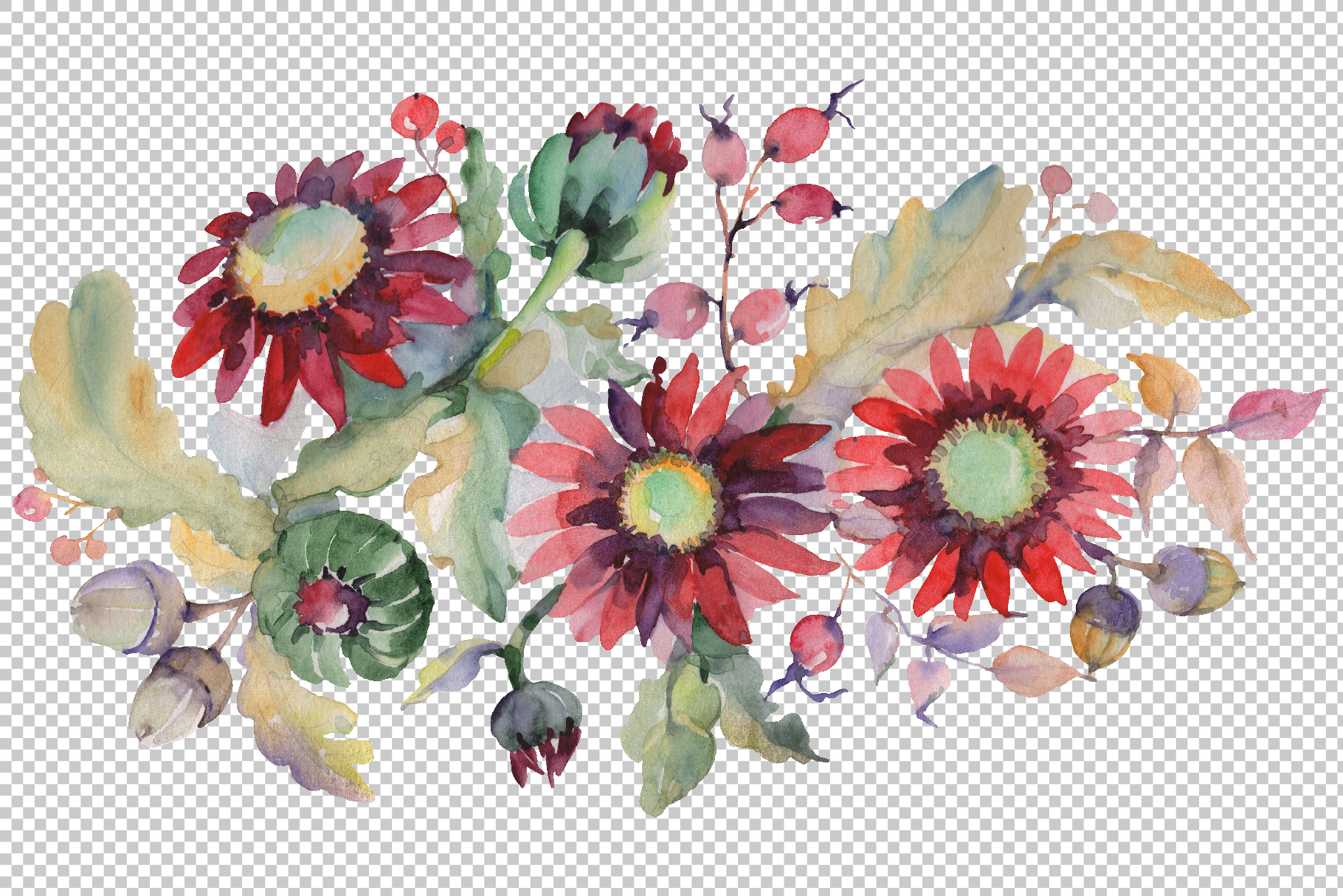 Autumn Bouquet with sunflowers Watercolor png example image 2