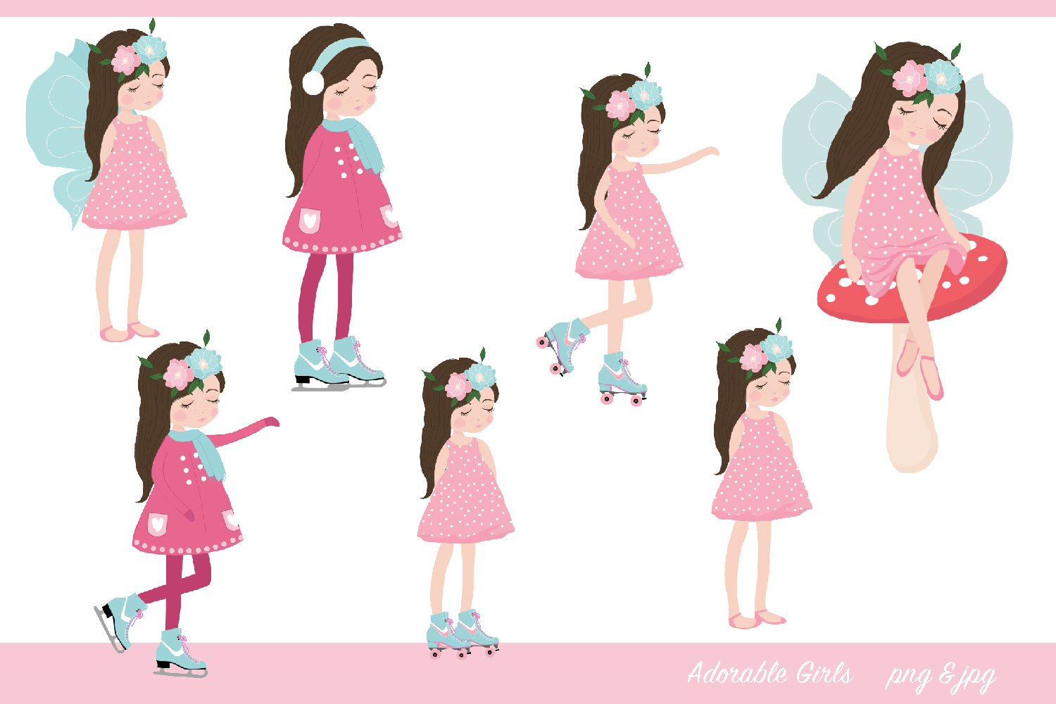 Adorable Girls Clipart-, roller skating, fairy, ice skating example image 1