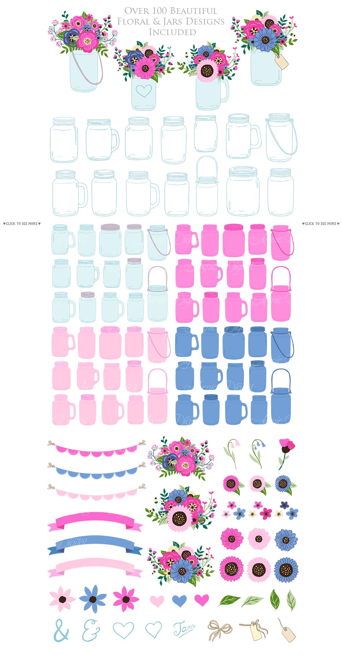 Pink and Navy Mason Jar Wedding Clipart example image 4
