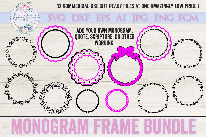 Monogram Frame Bundle of 12 SVG Cut files LL011 example image 1