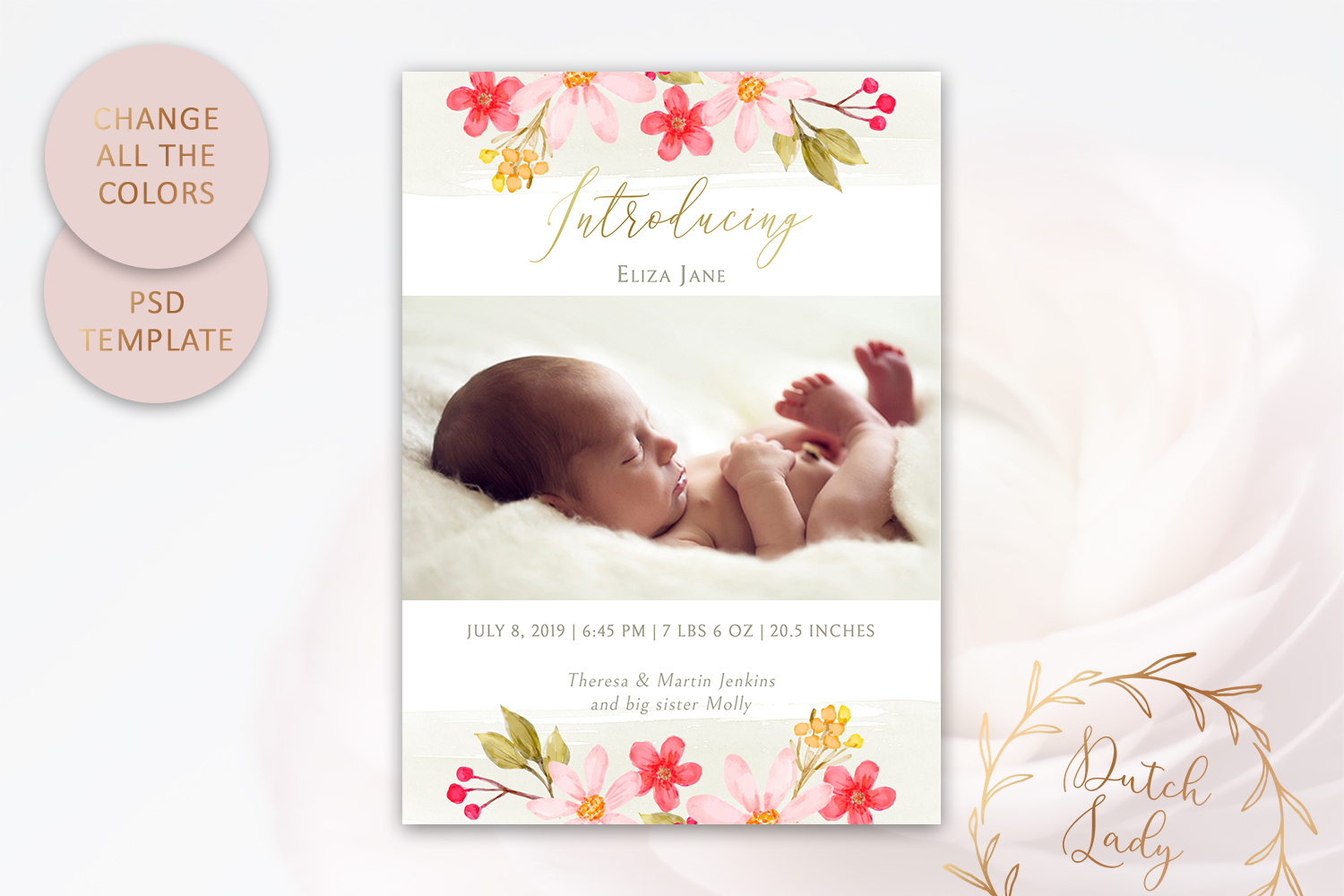 PSD Birth Announcement Card Template - Design #5 example image 3