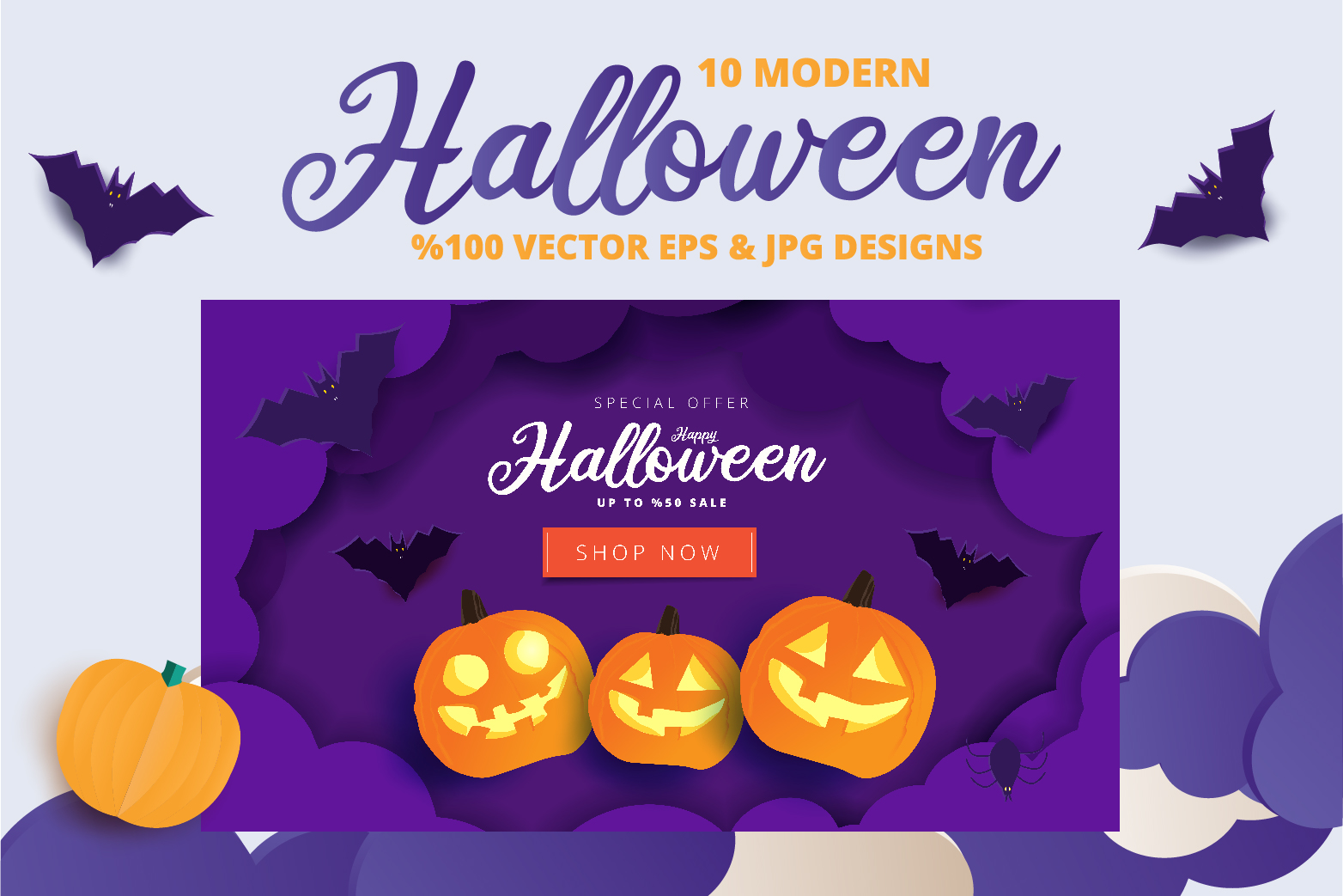 Halloween Sale header or banner design and invitation flyer example image 3