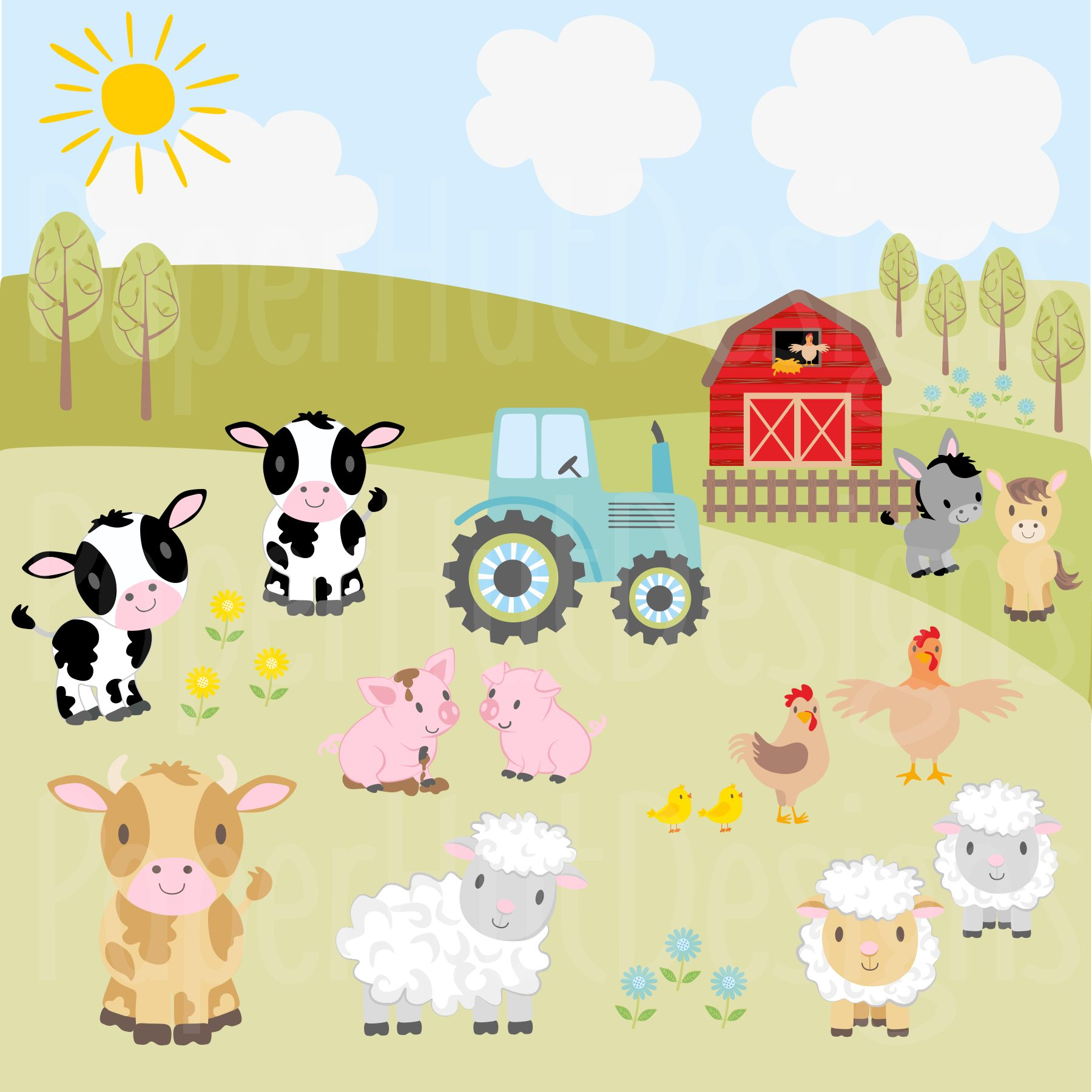 Farm Animals Clipart and Digital Papers example image 6