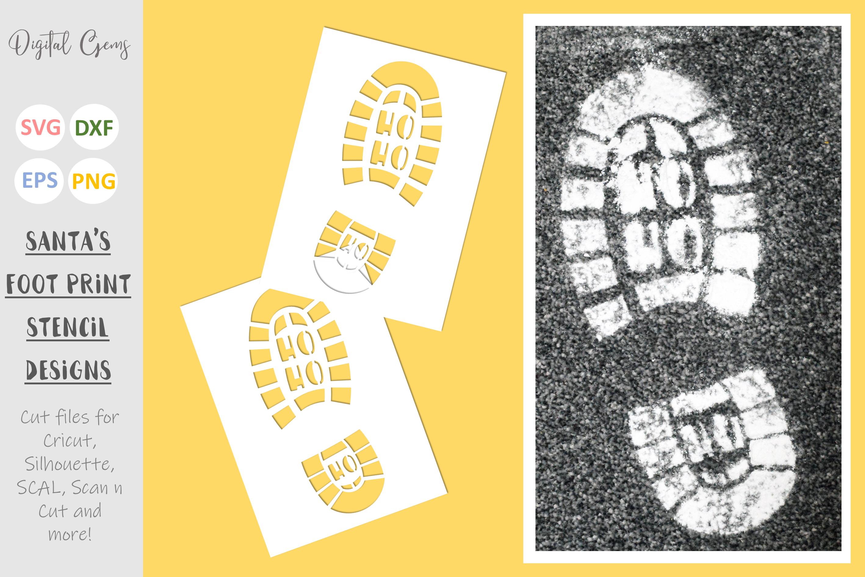 Santa foot print stencils. SVG / EPS / DXF / PNG Files example image 1