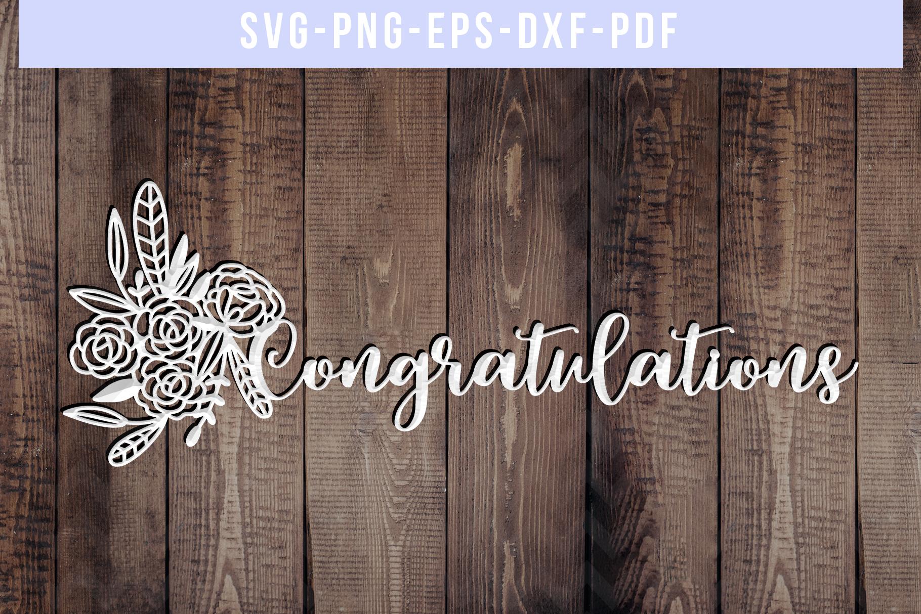 Congratulations Papercut Template, Wedding Cut File, SVG PDF example image 3