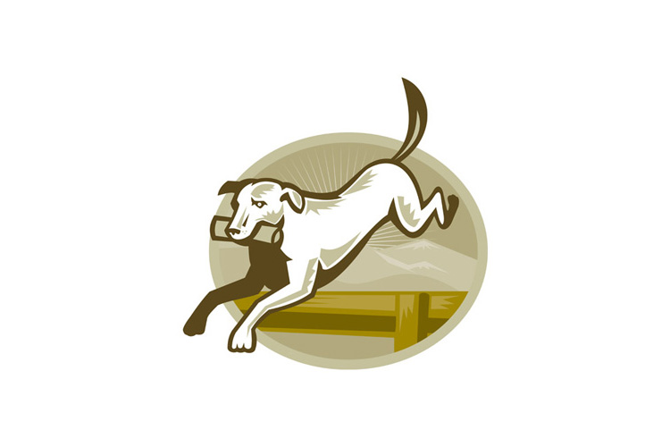 Retriever Dog Training Jumping Hurdle Retro example image 1