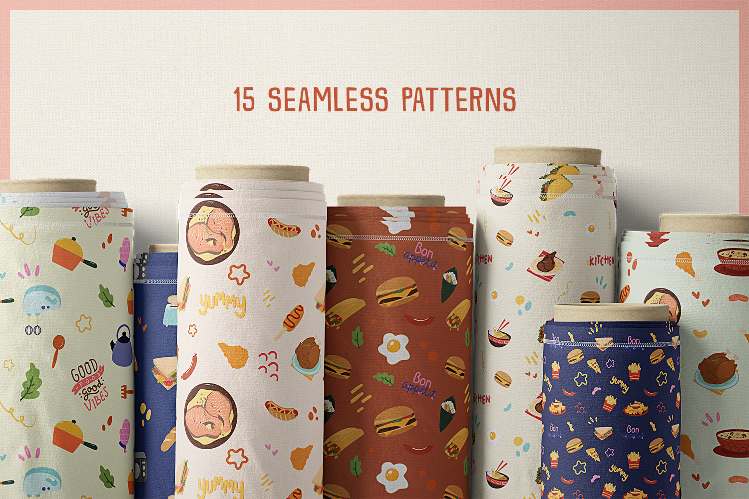 Food Vector Clipart & Seamless Patterns example image 8