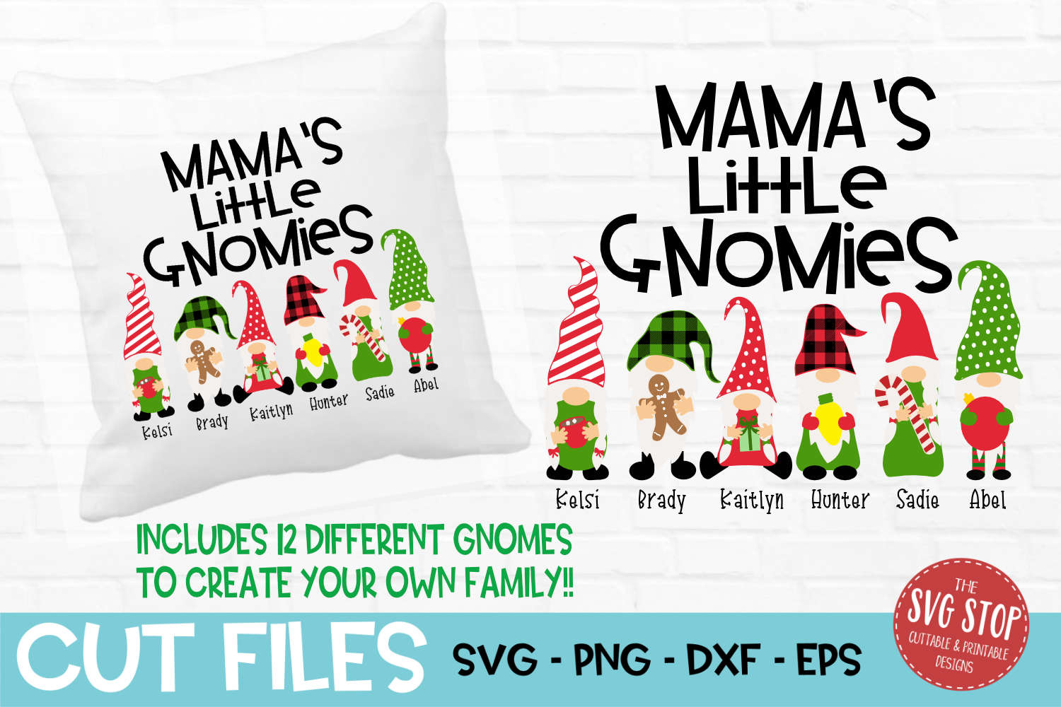 Mama's Little Gnomies Christmas SVG, PNG, DXF, EPS example image 1