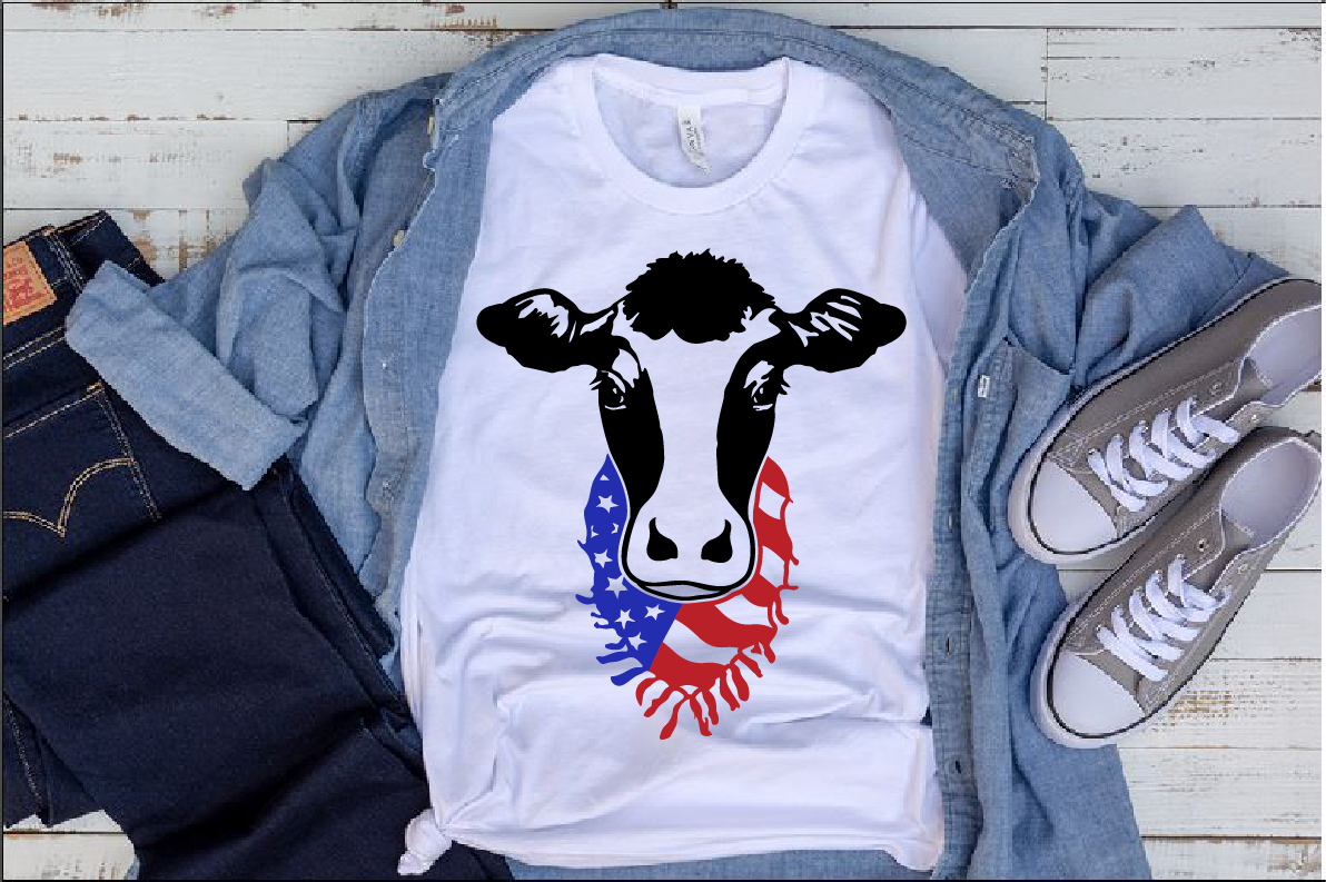 Cow Head whit Scarf US flag SVG Farm american heifer 1272s example image 1