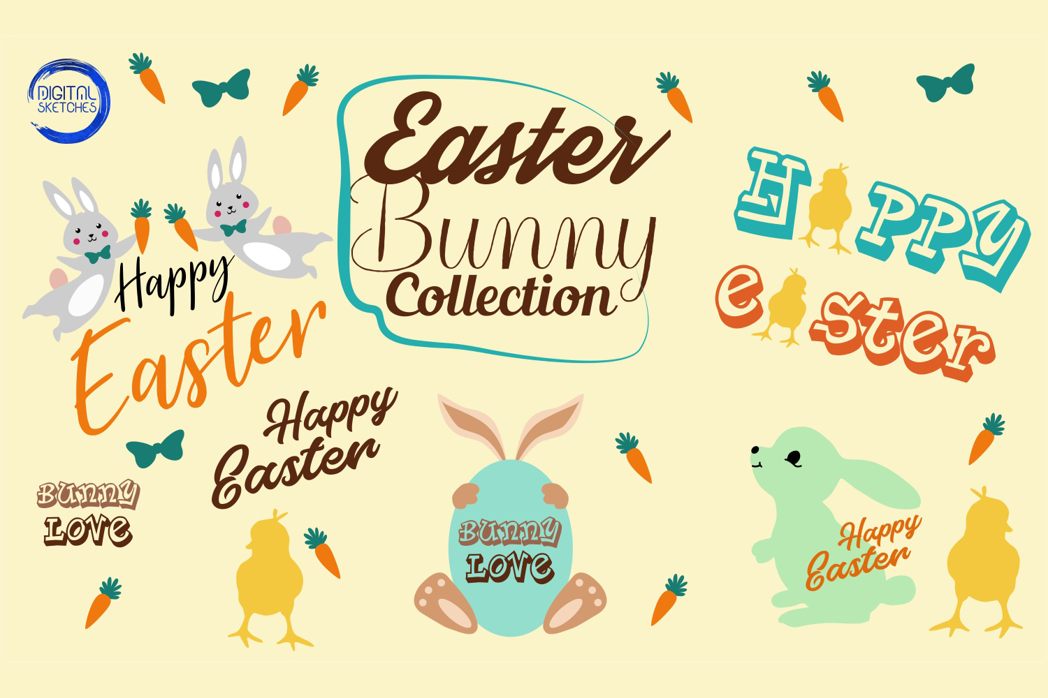 Easter Bunny Collection Easter Egg Vector Illustration example image 2