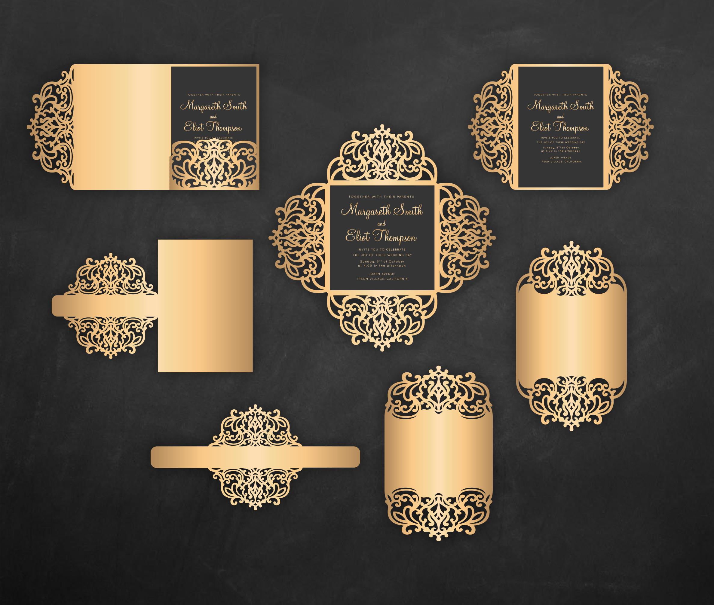 laser cut wedding invitation set  5x7  cricut template