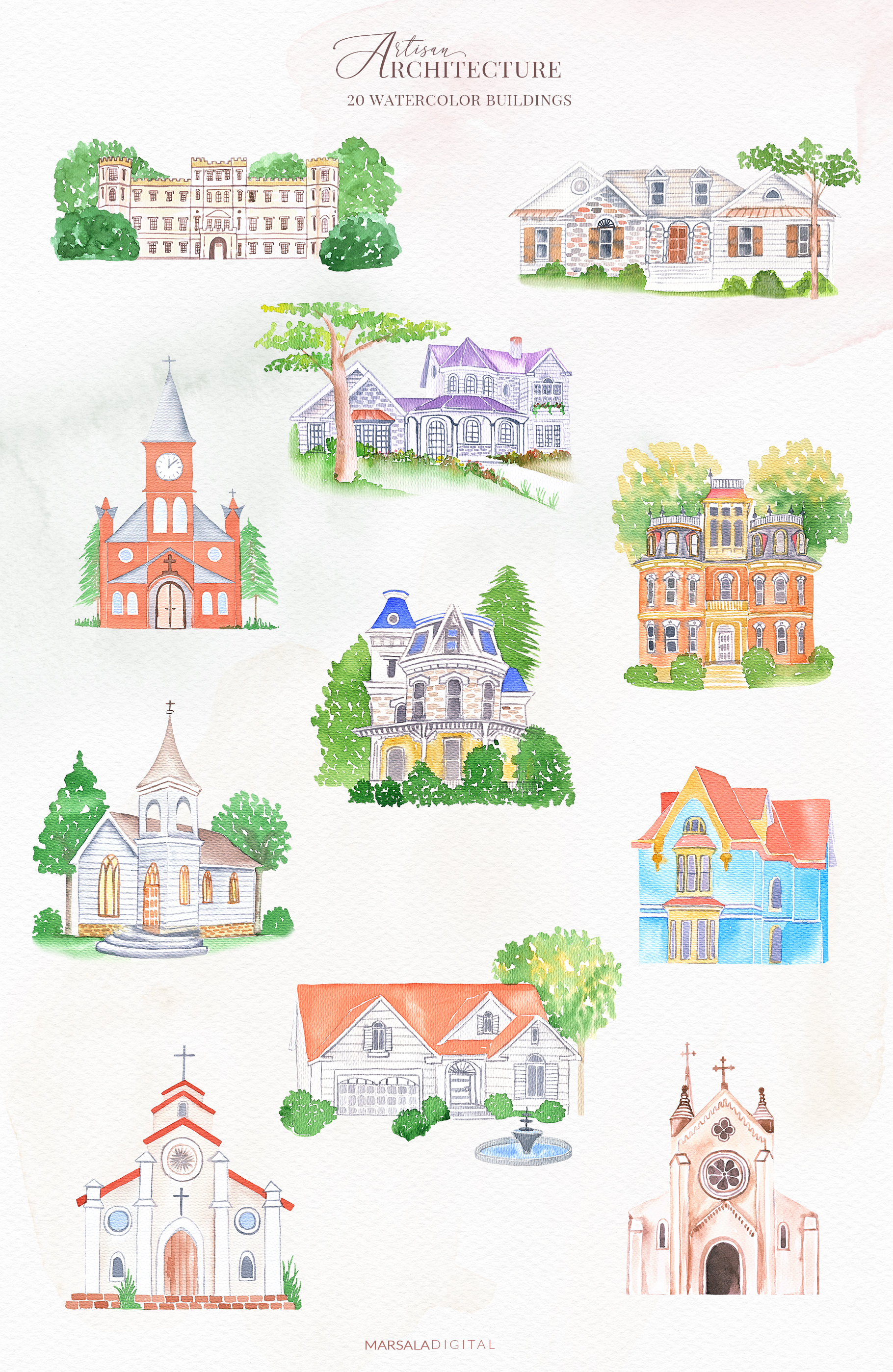 Venues Houses Watercolor , Sketch , Vector Graphics example image 3