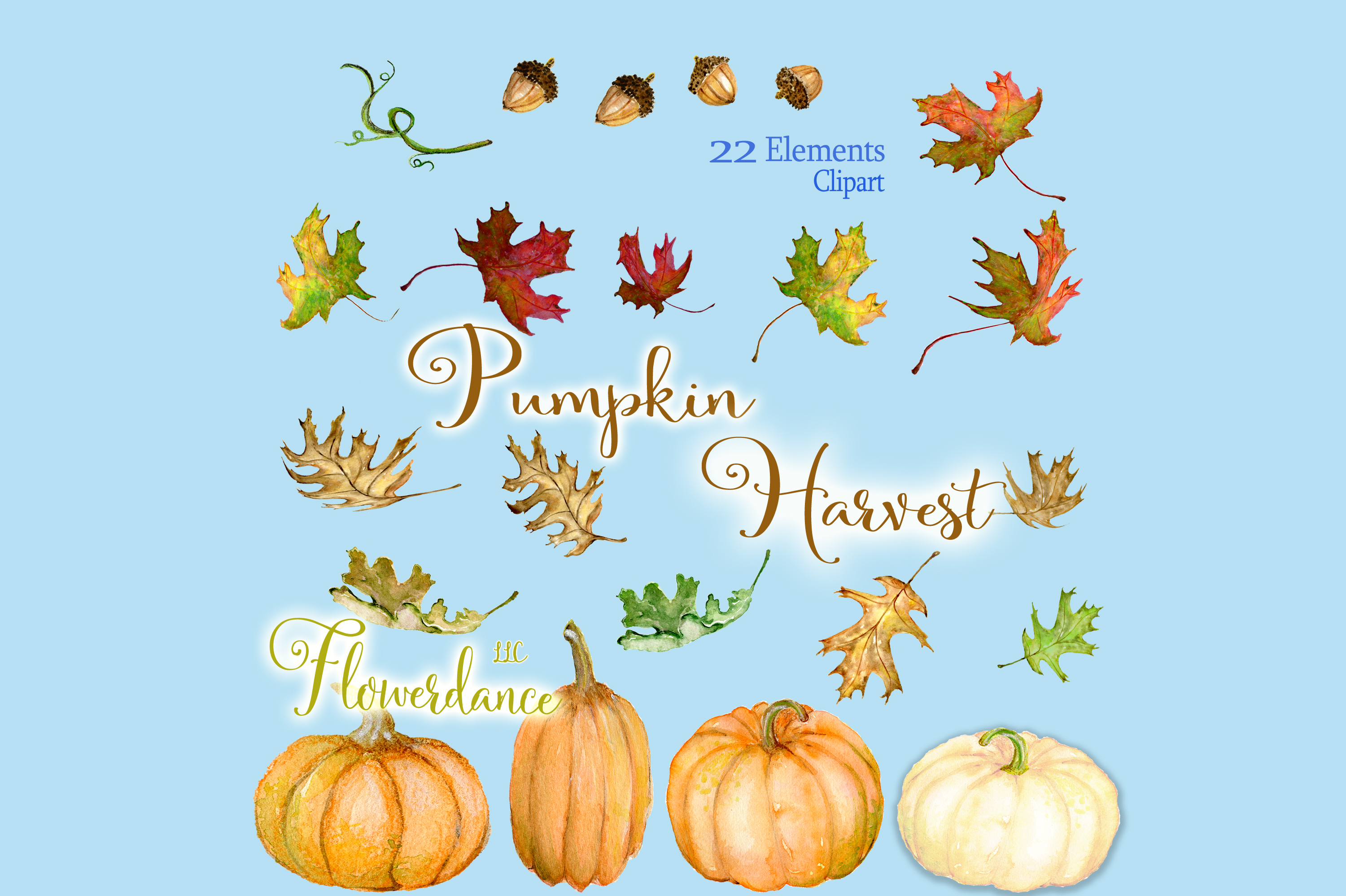 Watercolor Pumpkin Clipart, Fall, Harvest, Transparent PNG example image 3