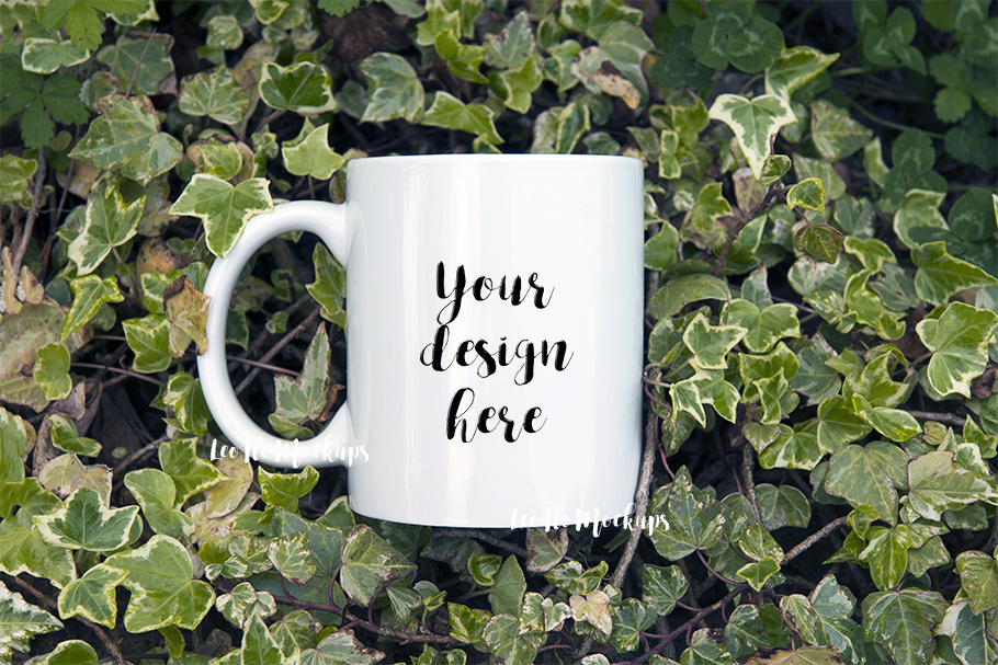 White Coffee 11oz mug mockup green forest nature cup template example image 1