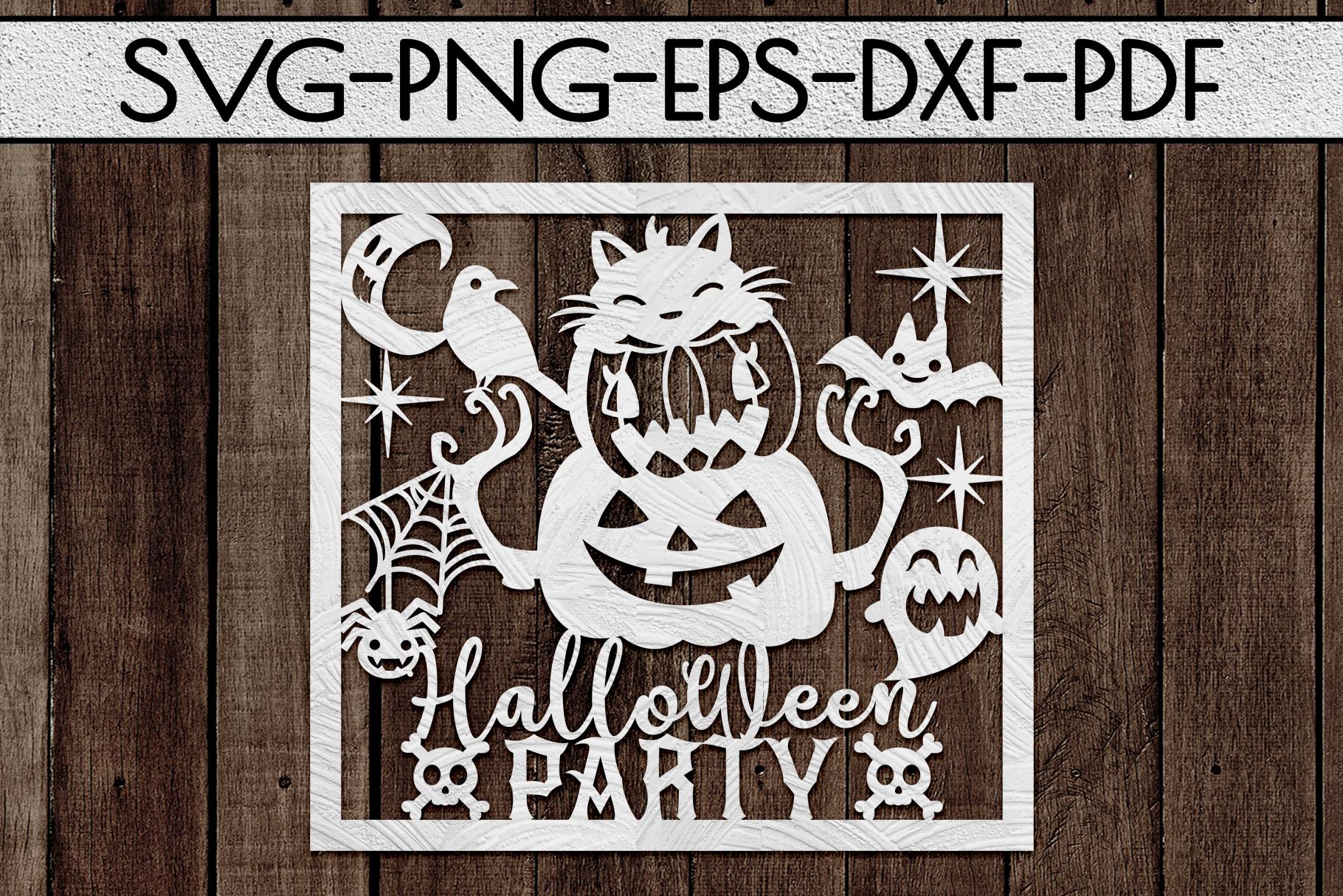 Halloween Party Papercut Template, Halloween Decor SVG, PDF example image 2