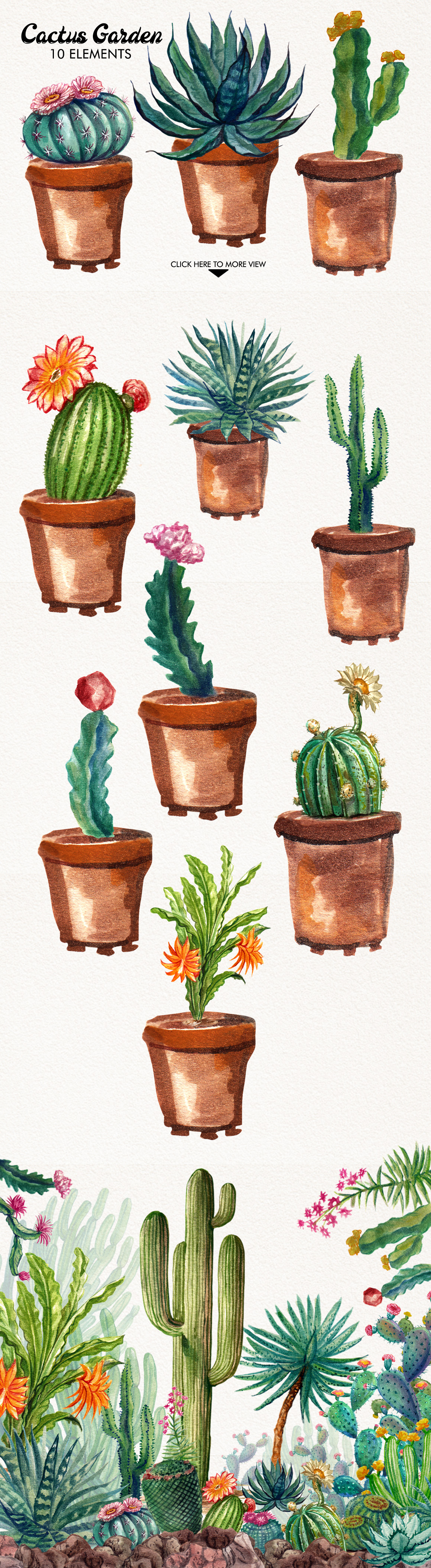 Watercolor Cactuses example image 4