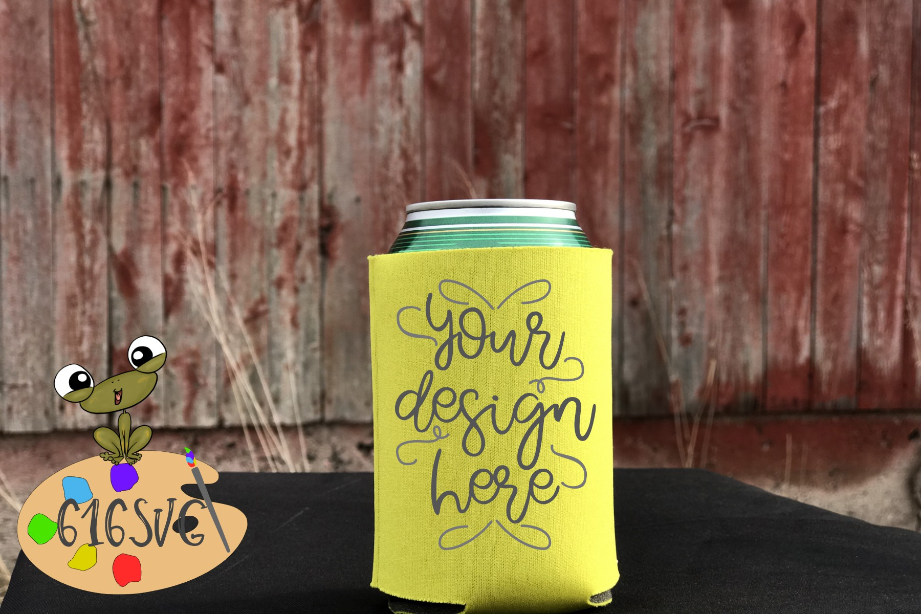 Yellow Can Cooler Mockup example image 1
