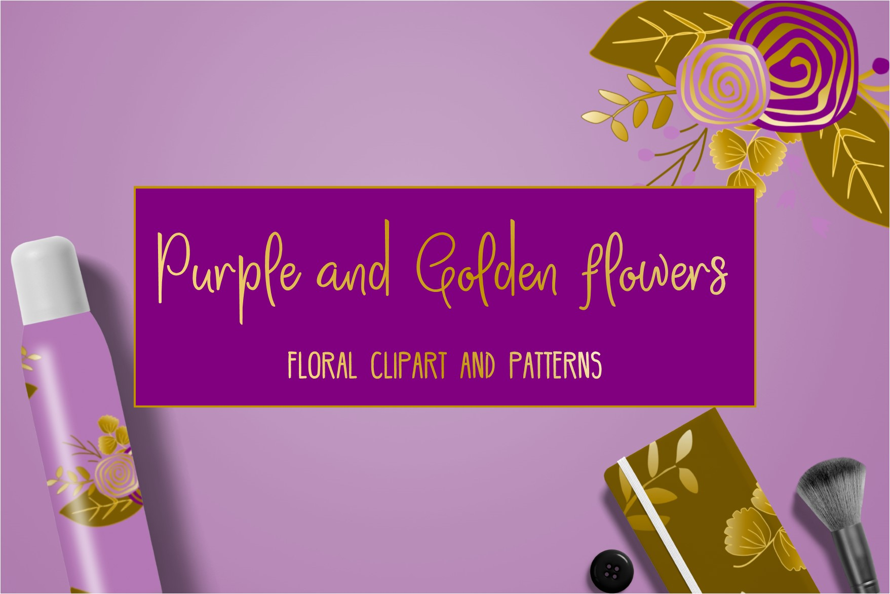 Purple and golden floral collection.  example image 1