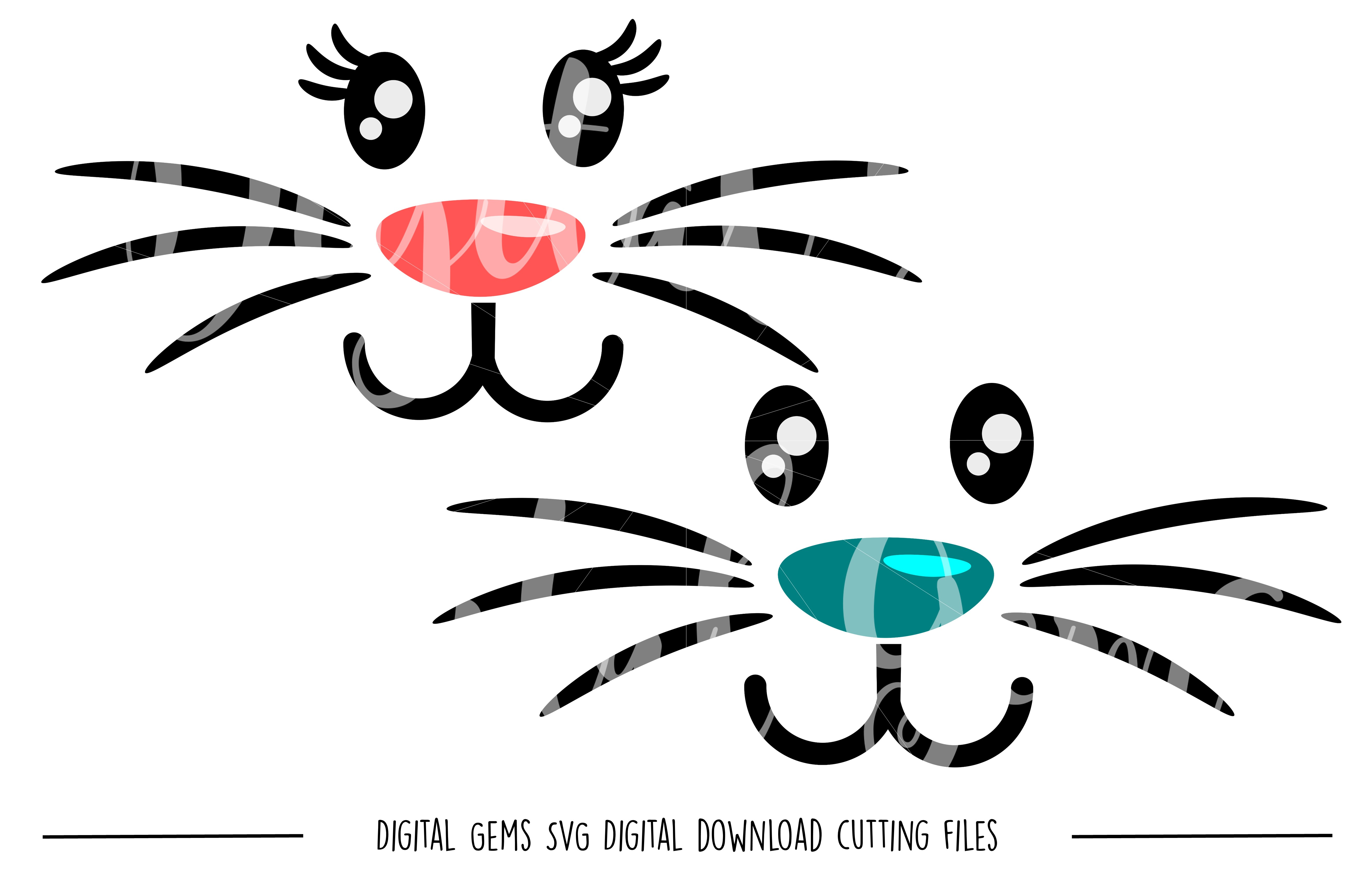 Rabbit Faces SVG / PNG Files example image 1