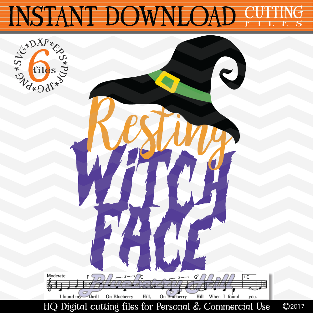 Resting Witch Face - Witches svg - Hocus Pocus time example image 1