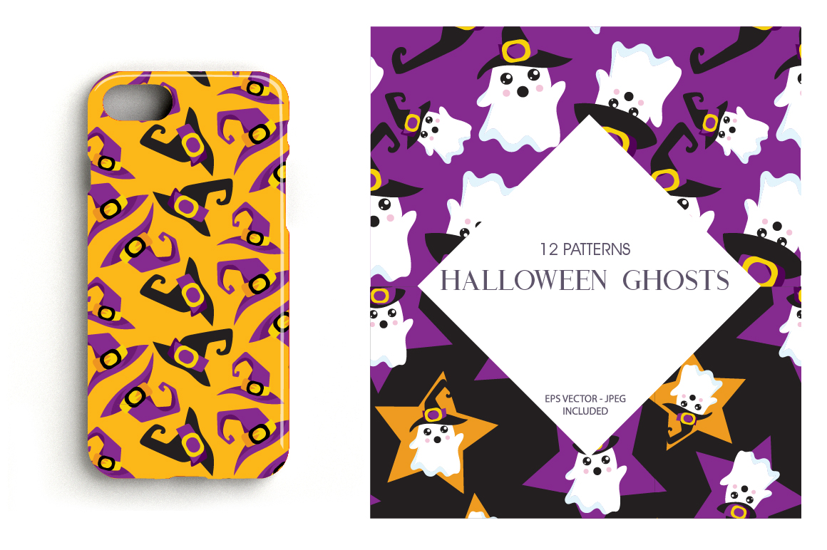 Halloween Ghosts Pattern collection, vector ai, eps example image 4