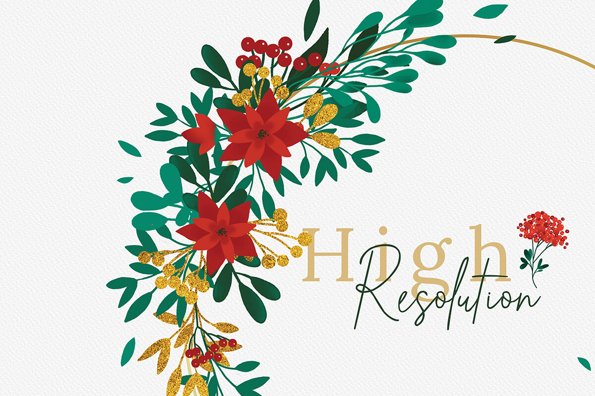 Christmas Watercolor Gold Flower collection example image 6