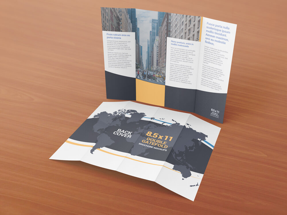 8.5 x 11 Double Gate Fold Brochure Mockups example image 6