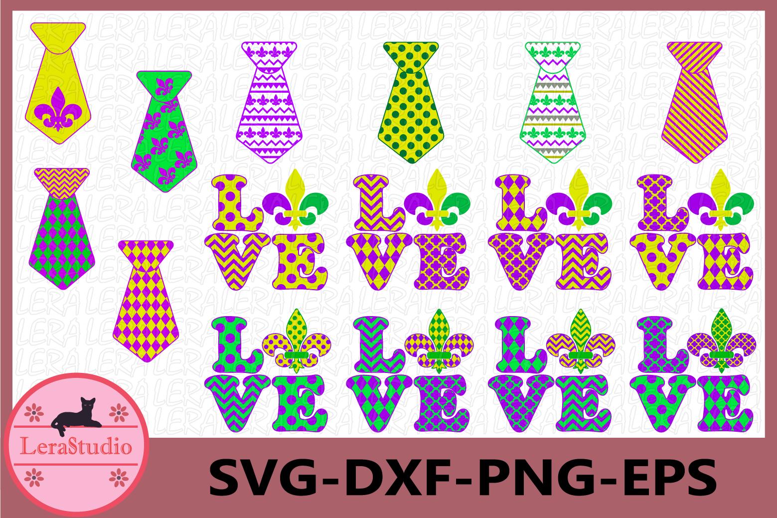 Mardi Gras Svg, Love Svg, Tie Svg, Fleur de Lis Svg example image 1