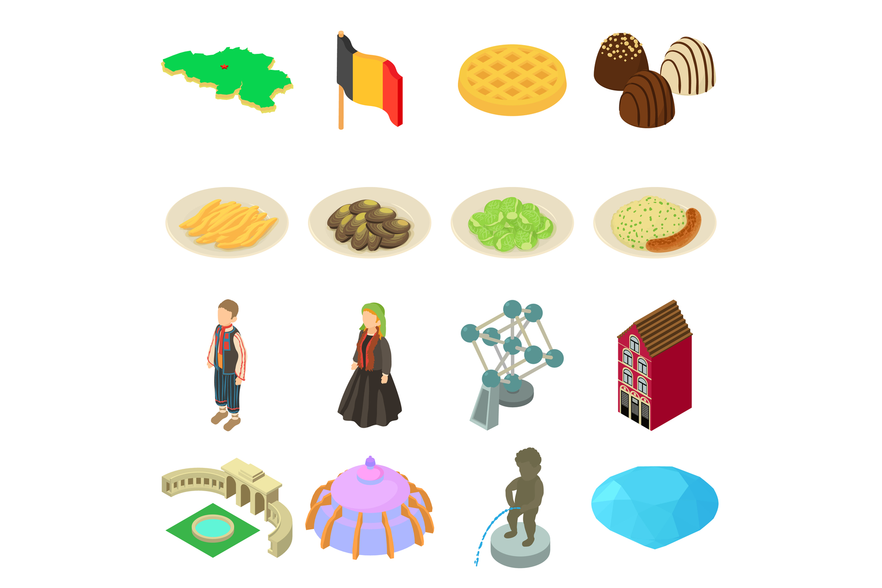 Germany travel icons set, isometric style example image 1