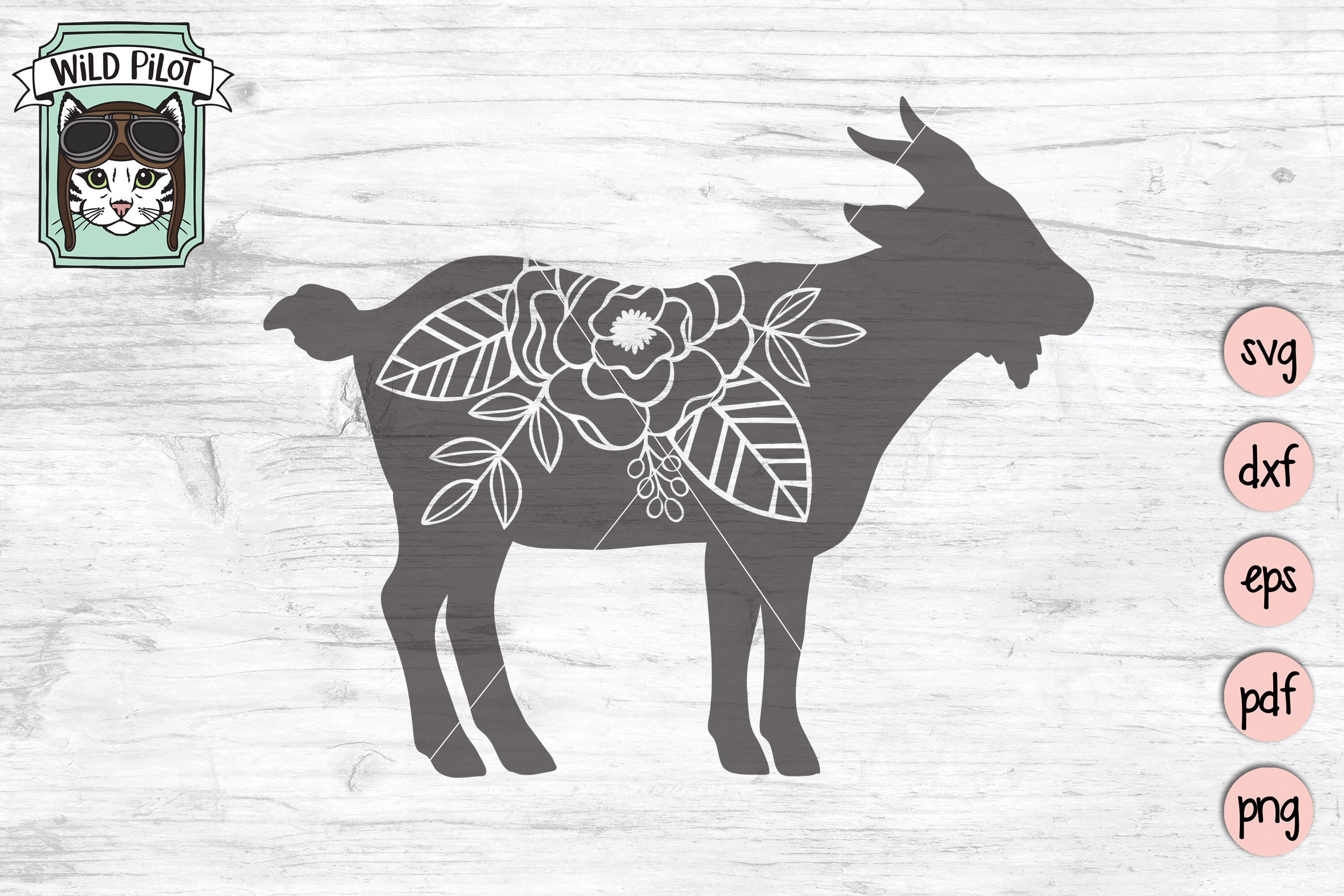 Goat SVG file, Goat Cut file, Flower Goat Silhouette, Floral example image 3