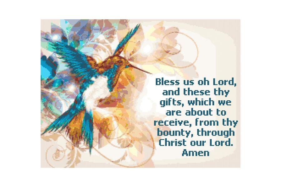 Meal Prayer Cross Stitch Pattern example image 1