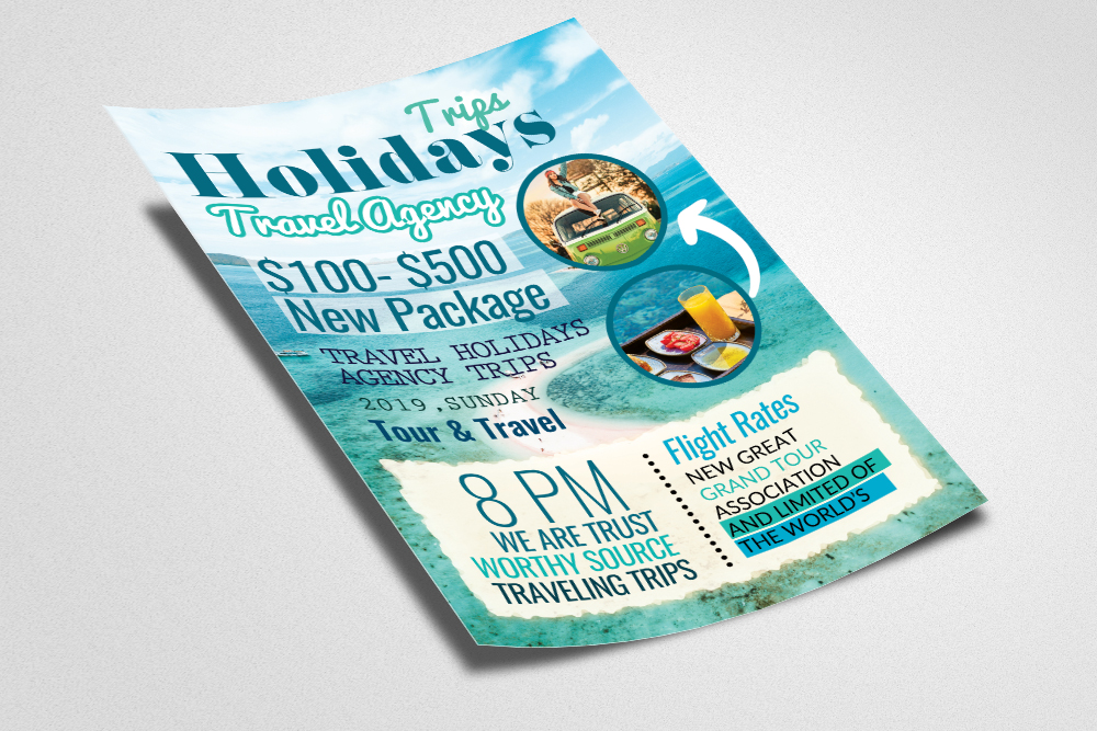 A4 Tour Travel & Holidays Flyer example image 2