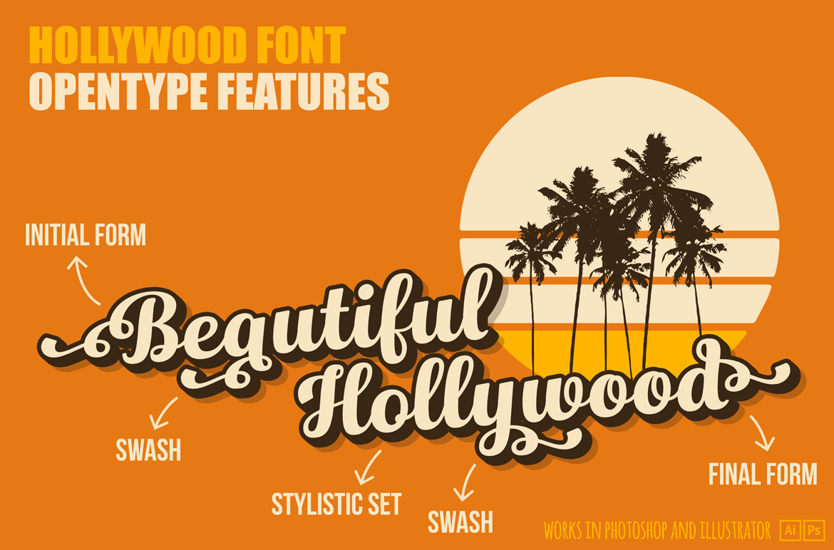 Hollywood • Vintage Font example image 3