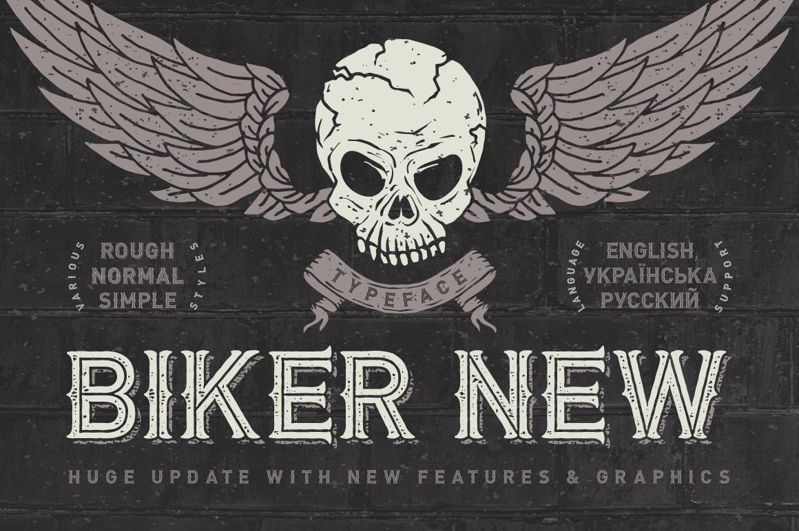 Biker Remastered font + graphics example image 1