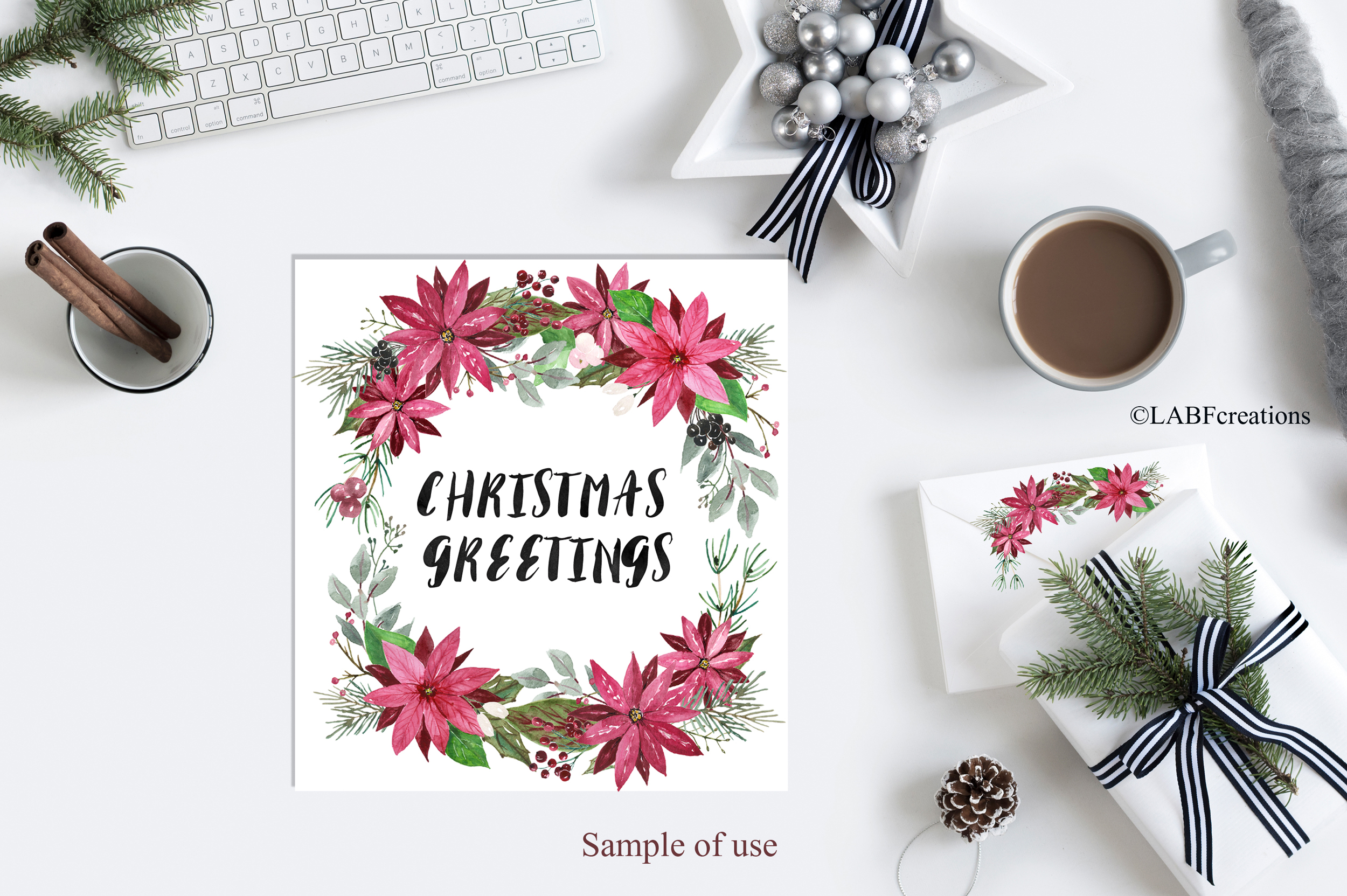 Christmas greetings. Hand drawn watercolor collection. example image 13