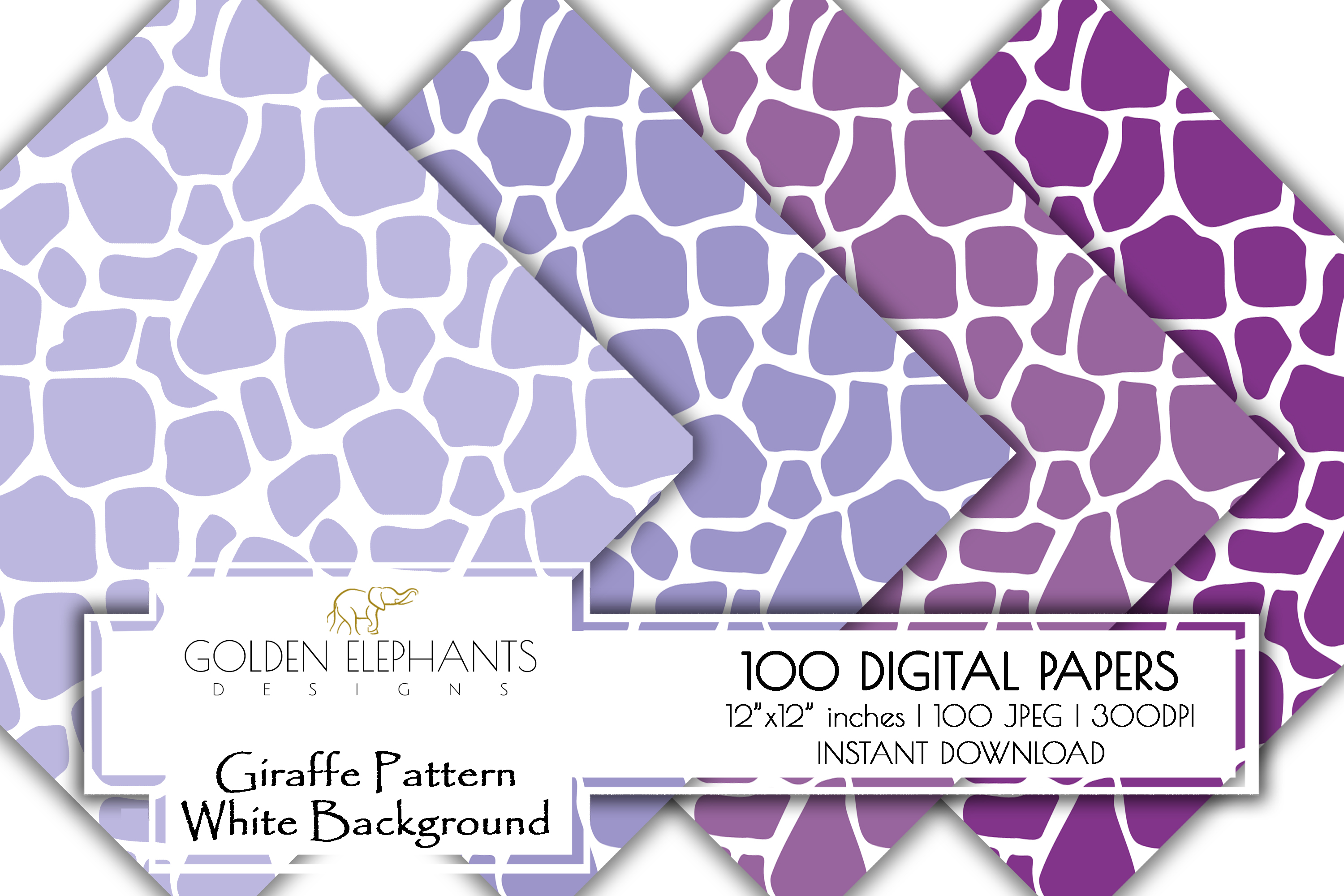 100 Giraffe Pattern w/ White Background Digital Paper example image 6