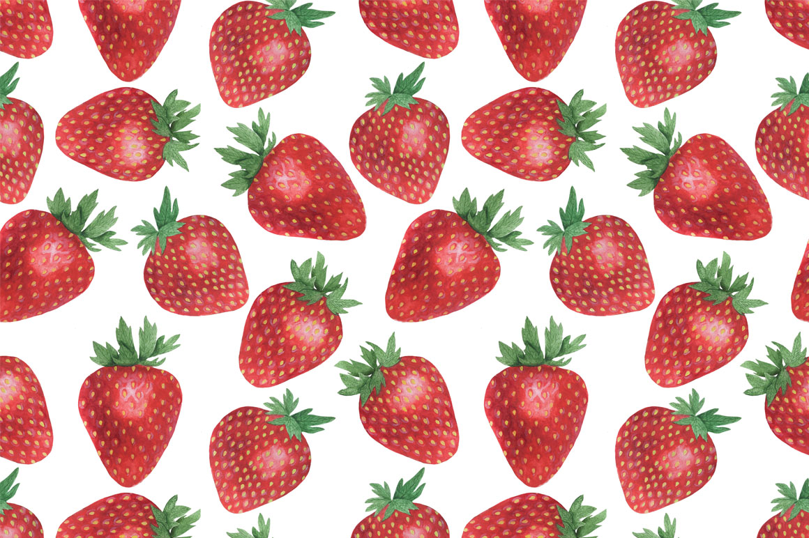 Set Strawberry Watercolor example image 3