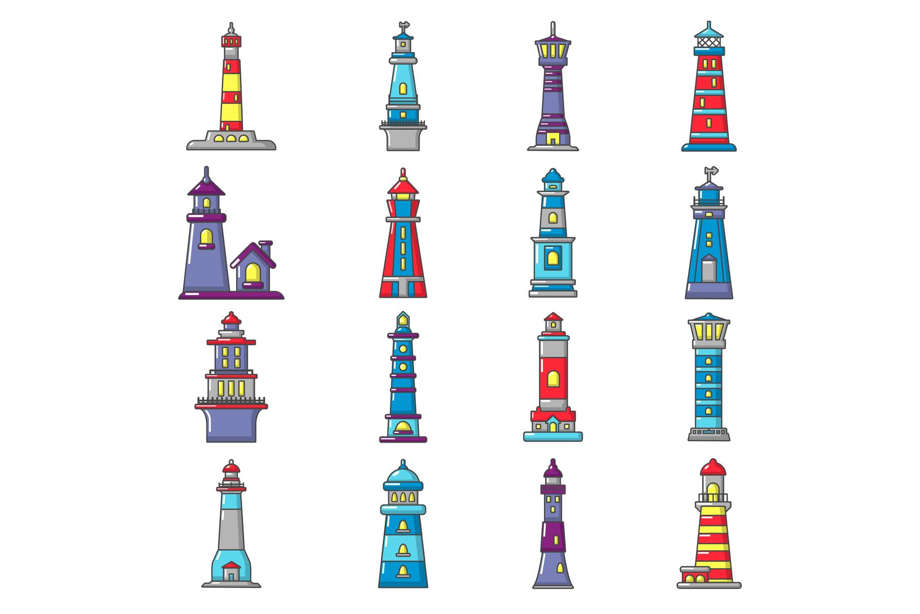 Lighthouse icons set, cartoon style example image 1