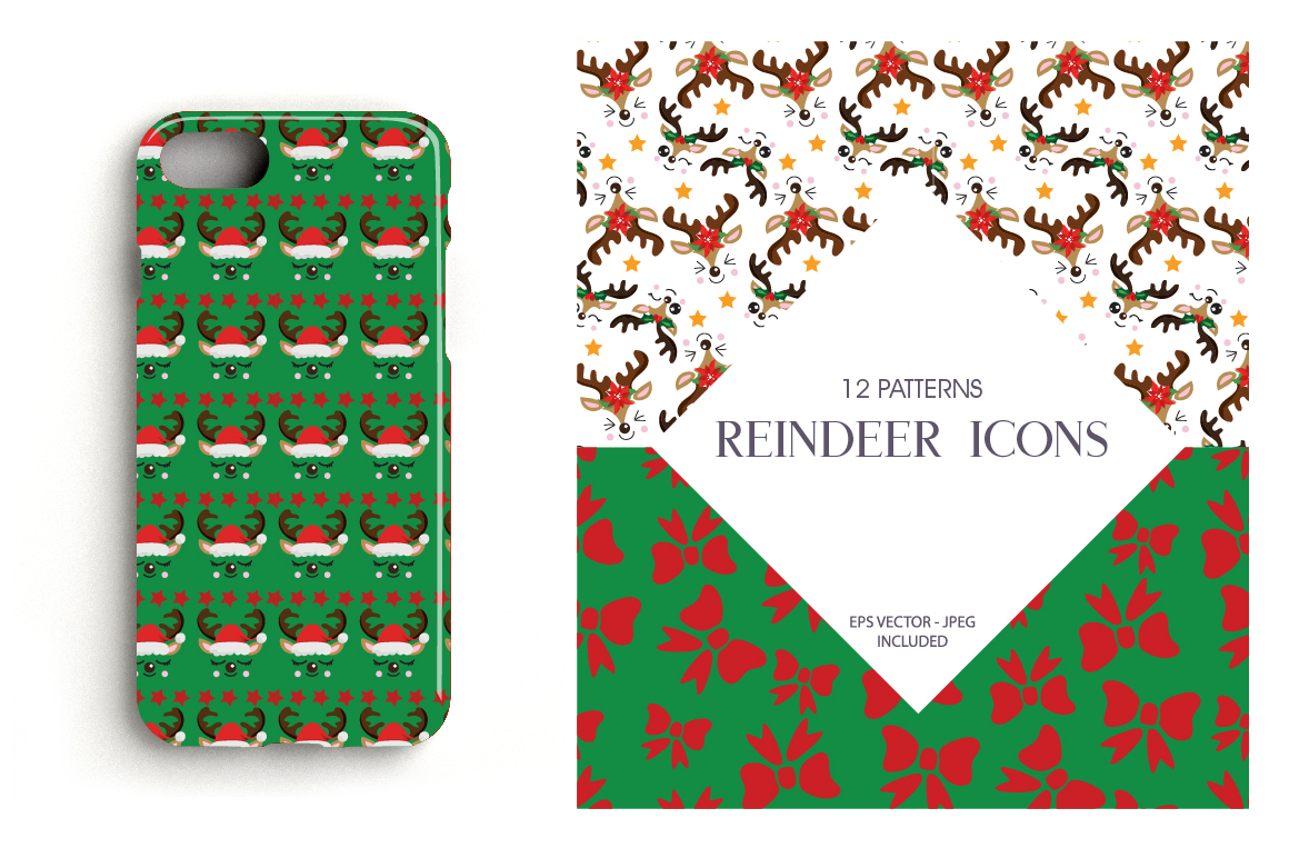 Reindeer Icons Pattern collection, vector ai, example image 4