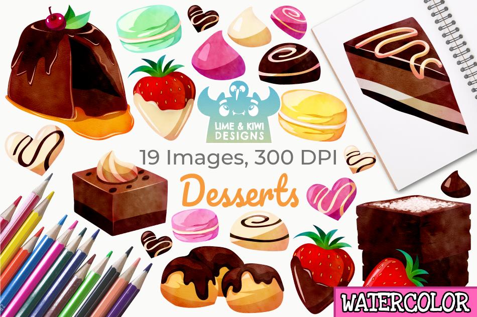 Dessert Watercolor Clipart, Instant Download Vector Art example image 1