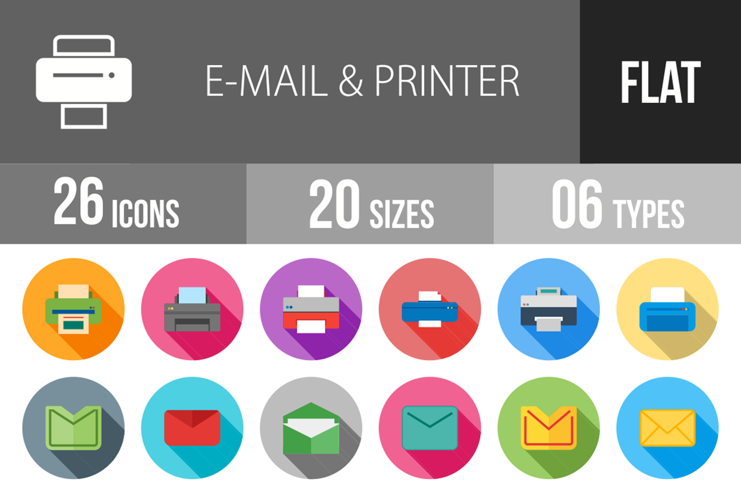 26 Email & Printer Flat Long Shadow Icons example image 1