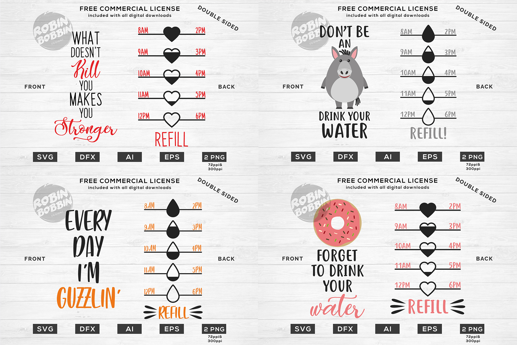 Water Bottle Trackers - SVG Bundle example image 4