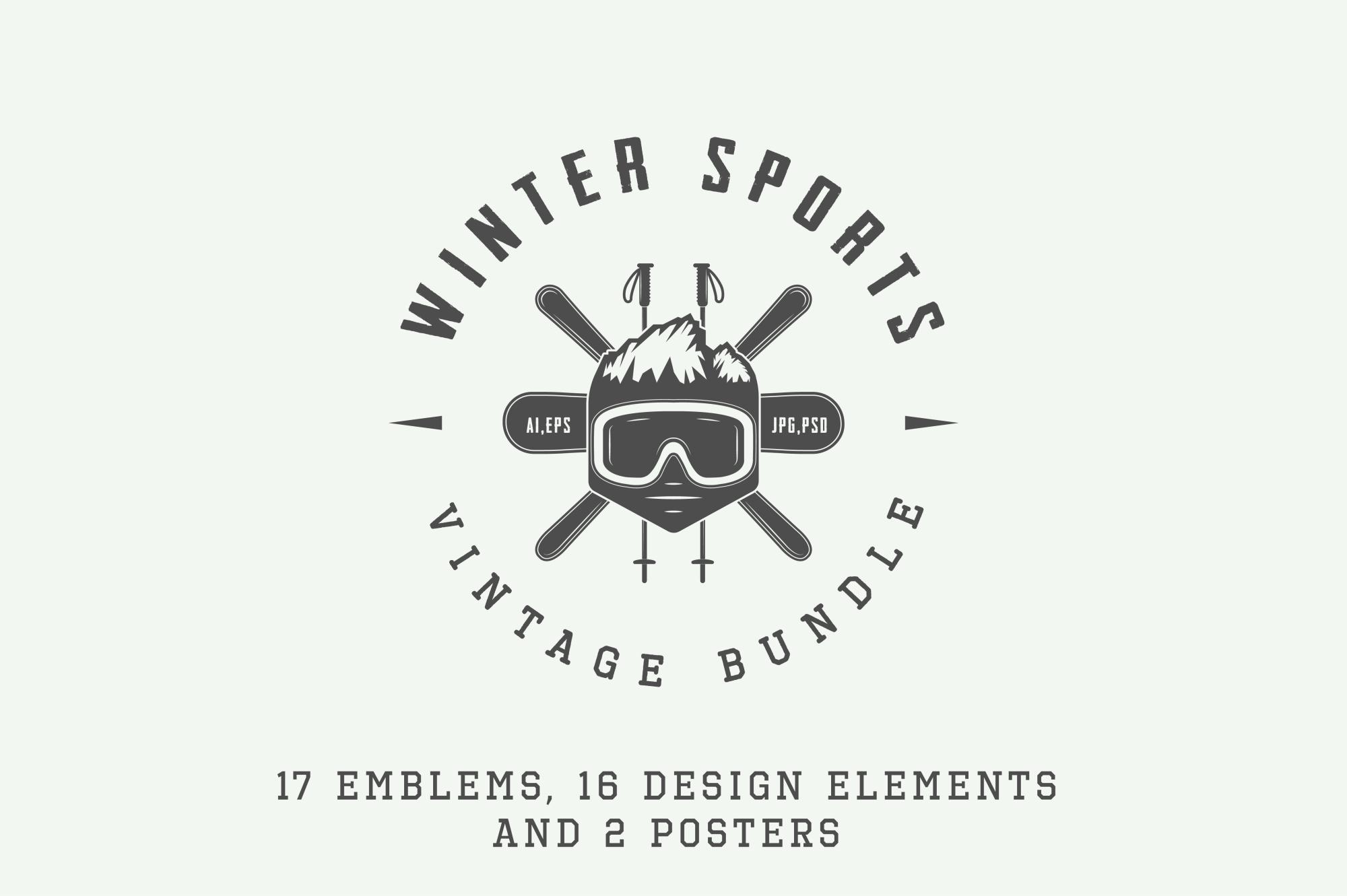 Set of vintage winter sports emblems example image 1