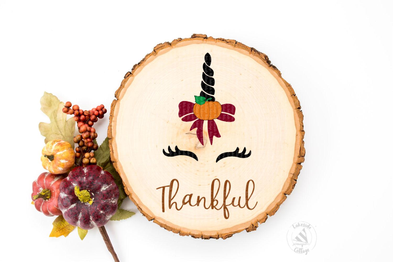 Thankful Unicorn Thanksgiving SVG Design example image 2
