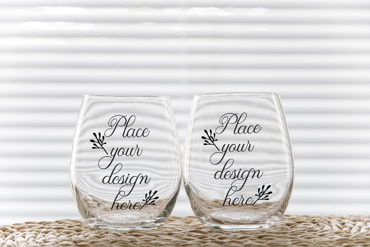 Two stemless wine glass mockups 2 no stem tumbler mockup example image 1