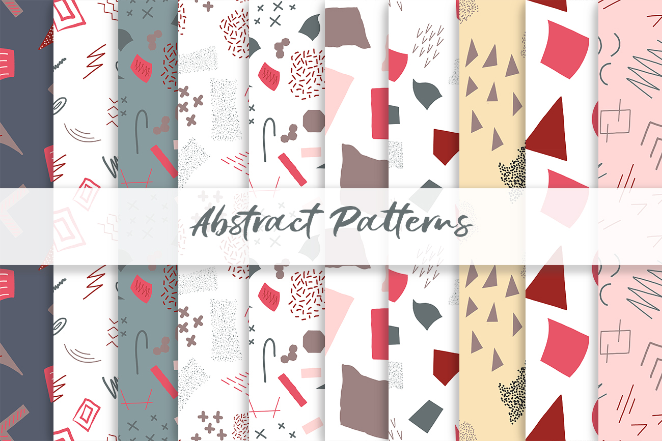 Abstract vector patterns. Big geometric collection, seamless example image 5