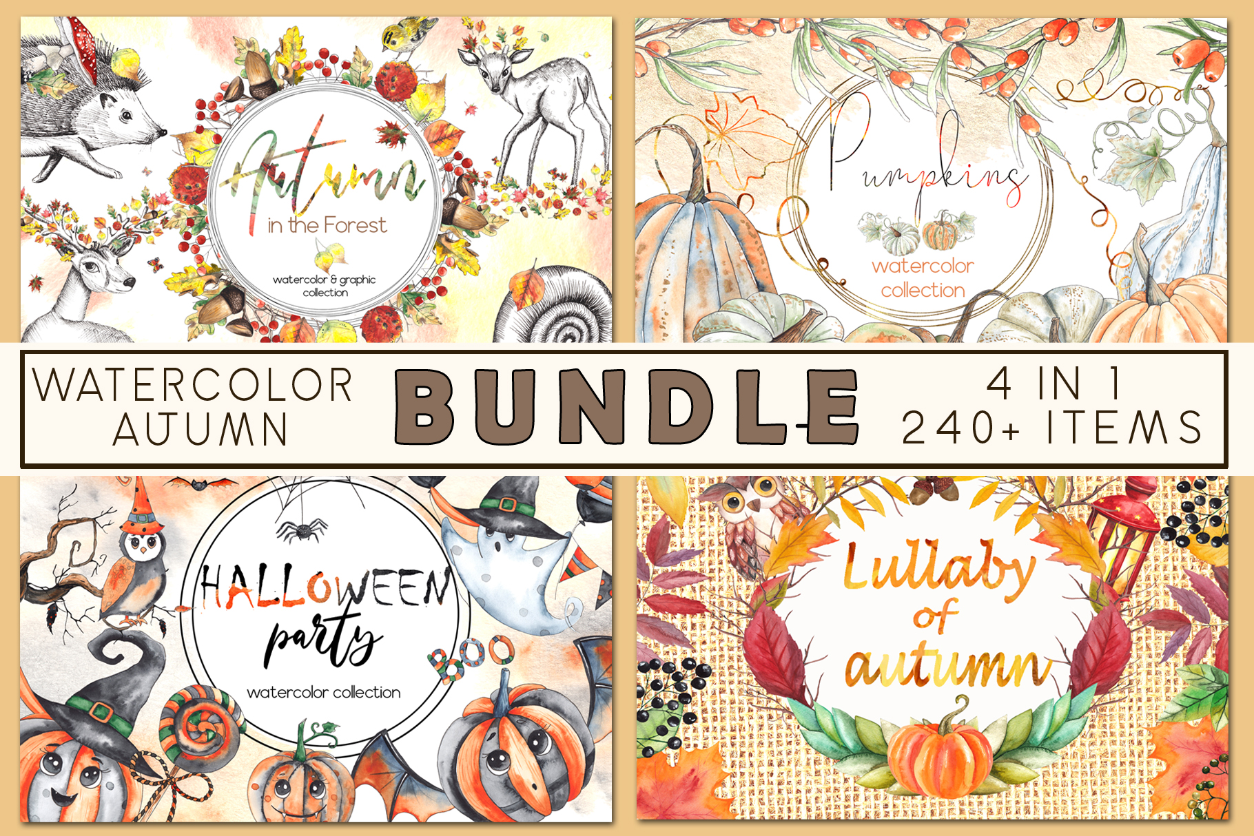Watercolor autumn BUNDLE example image 1