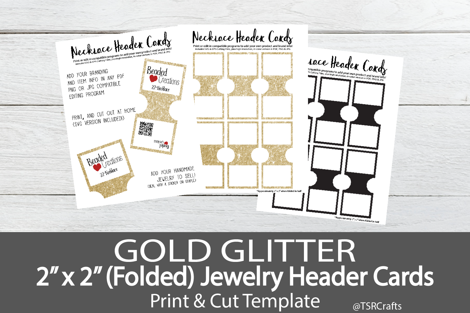 Jewelry Header Cards for Necklace - Gold Glitter example image 1