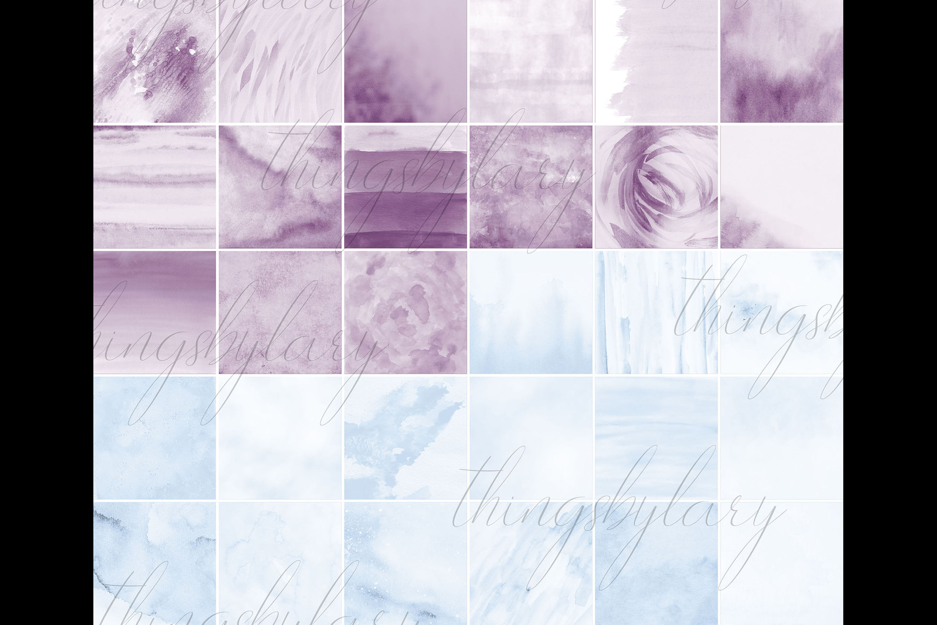 30 Ombre Amethyst & Powder Blue Watercolor Digital Papers example image 10