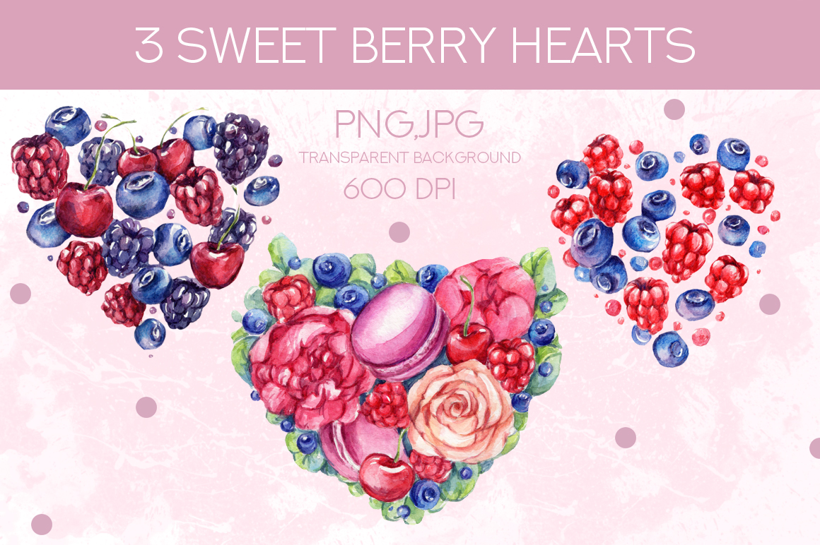Watercolor set SWEET BERRY LOVE example image 2